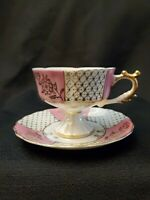 Royal Crown Trimmed Iridescent Footed Tea Cup Saucer Pink with Gold Footed
