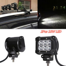 2x Car Truck 4'' LED 18W Work Light Bar Flood Lamp Beam Driving Holder Spotligh