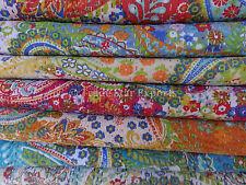 Paisley Cotton Kantha Quilt Vintage Rali Queen Bedspread Wholesale Lot of 10 Pcs