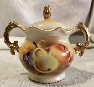 Vintage Porcelain Condiment Jar w/Lid Hand Painted Fruit Design Gold Trim Enesco
