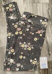 NEW RELEASE Lularoe Leggings Size TC2 Beautiful Flower Gray Amazing Print