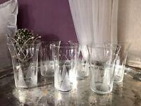Antik Art Déco 6x Becher Trinkbecher Gläser gezackte Schliff-Bordüre Tulpe
