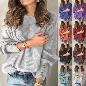 Womens Loose Long Sleeve Tee Knitted Jumper Pullover Casual Blouse Ladies Tops