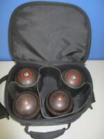 HENSELITE Lawn Bowls Size 1 Kookaburra Boomerang Logo Walnut Brown with Case VGC