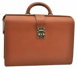 Auth Louis Vuitton Epi Serviette Fermoir Brown Briefcase M54358 LV A9699