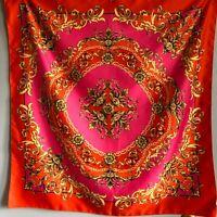 "H&M Pink Orange Gold Scarf Scroll Design Chain Link Floral 35"""