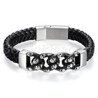 Biker Stainless Steel Magnetic Buckle Skull Chain Men Leather Bracelet Wristband