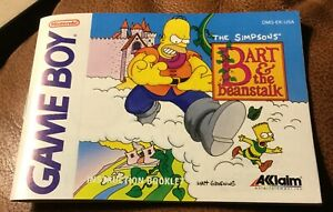 1993 The Simpsons Bart and the Beanstalk Nintendo Game Boy 1993 Manual Only Rare