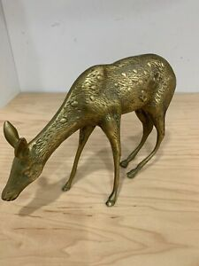 Vintage Large Solid Brass Sprinting Deer Sculptor 12'' Long