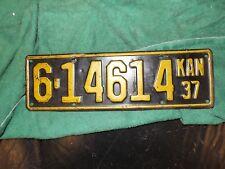 LICENSE PLATE Car Tag 1937 KANSAS 37 Kan
