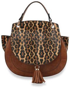 Leopard Print Handbag And Purse Tassel Tote ShoulderBag Satchel