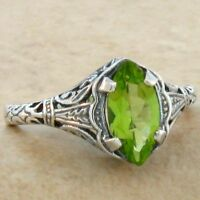 GENUINE PERIDOT VINTAGE DESIGN .925 STERLING SILVER RING,           #740