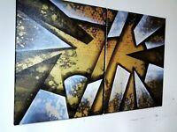 Tableau peinture huile sur toile abstraite