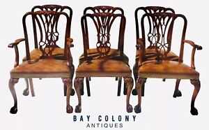 20TH C CHIPPENDALE ANTIQUE STYLE SET OF 6 MAHOGANY DINING CHAIRS