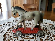 """Antique Tin Horse On Platforn Pull Toy 4.25""""w×2.25""""d×4""""t"""