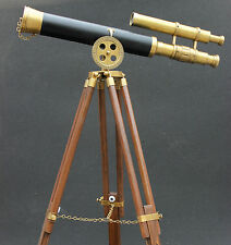 Vintage Maritime Ship Nautical Brass Telescopes With Designer Modern Tripod CB5