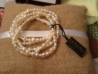 Vtg Honora Freshwater Collection Cultured Pearl 5 Strand Stretch Bracelet