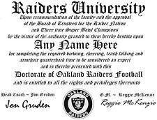 RAIDERS~OAKLAND RAIDERS  MAN CAVE ~ CERTIFICATE ~ DIPLOMA  GREAT   GIFT
