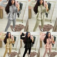 Womens Ladies Zip Pleated Frill Loungewear Suit Peplum Hem Jogging Tracksuit Set