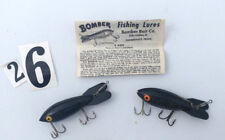 "Vintage Bomber Bait -Stick, - 2  Crankbaits  - 3 1/2"" - Black , Black - Rare"