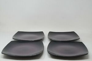 Gibson Home Stoneware Soho Lounge 4pc Salad Plates in Purple/Black