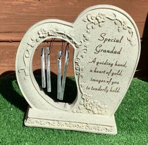 Heart Wind Chime for Grandad Grave cemetery memorial Cemetery ornament