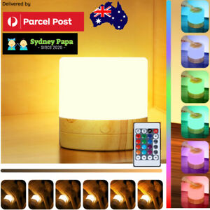 RGB Baby Bedside Remote Lamp LED Touch Night Light Dimmable USB Rechargeable
