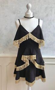 NEW+TAGS - SHOWNY Black Gold Strictly Dance RaRa Salsa Tassel Fringe Dress Med