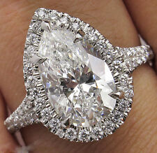 4 Ct Off White  Pear-Cut Moissanite Halo Engagement Ring 925 Sterling Silver