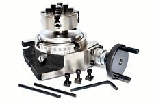 """ROTARY TABLE 4"""" + 70 MM INDEPENDENT CHUCK + BACKPLATE."""