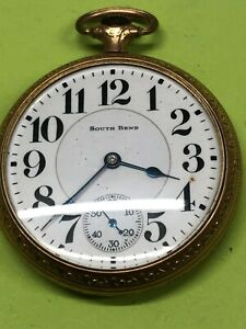 RARE Vintage South Bend Pocket Watch 10 K GOLD FILLED Case 19 JEWELS SIZE 16S