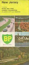 1970 BP OIL Road Map NEW JERSEY Atlantic City Trenton Camden Metro New York City