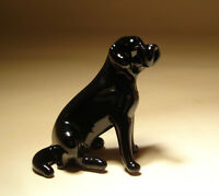 "Blown Glass ""Murano"" Art Figurine Dog Black LAB Labrador Sitting"
