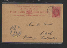 Malta  postal  card to  Germany   1905         WPX1120