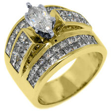 5 CARAT WOMENS DIAMOND ENGAGEMENT RING MARQUISE PRINCESS INVISIBLE YELLOW GOLD