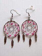 "Dream Catcher Earrings-1 3/8""- Hot Pink Beads/JewelTone Thread-Pizazz Creations"