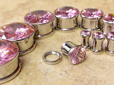 PAIR Large Pink Gem Screw Fit Tunnels Plugs Gauges - select size 6g up to 20mm