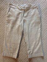 Women's New York and Co. Linen Cropped Tan Khaki Pants w/Stretch-Size 6