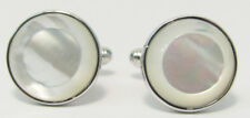 Mother of Pearl Cuff Links In Sterling Silver