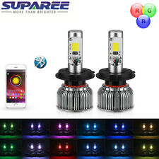 2 in1 RGB LED Headlight Bulb Kit Controled Bluetooth Demon Eye Color Changing
