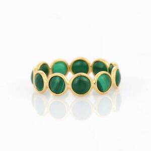 Natural Malachite Gemstone Dainty Stackable Band Ring 925 Solid Sterling Silver