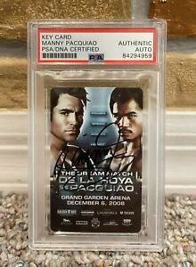 MANNY PACQUIAO SIGNED AUTO HOTEL KEY CARD MGM GRAND Oscar de La Hoya PSA PROOF
