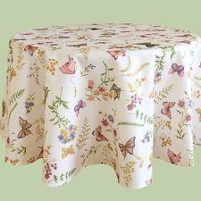 Tischdecke rund 130 Cm Schmetterlinge Blumen Gräser Garten pflegeleicht
