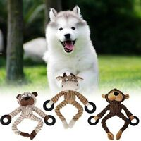 Unstuffed Plush Dog Puppy Pet Squeaker Toys Squeaky Funny Sound Play Chew Toy