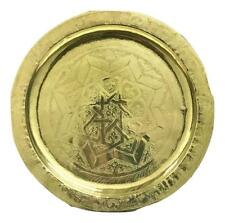 Handmade Moroccan Engraved Small Round Gold Serving Tray Wall Decor
