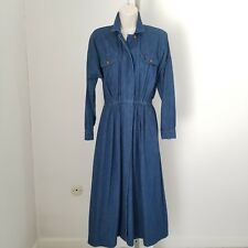 Dennis Goldsmith Long Sleeve Blue Jean 100% Cotton Denim Button Down Dress Sz 6P