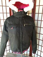 Roxy Jacket Sz Girls XL or Women S Small Faux Fur Cold Weather Winter Black Pink