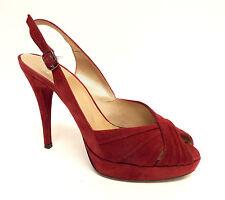 STUART WEITZMAN Size 9 Red Suede Platform Slingback Heels Pumps Shoes