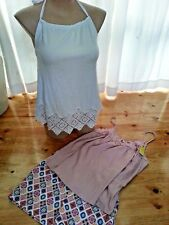 Bulk Lot Sportsgirl 2 tops white mauve and 1 pair print shorts size L 14 NEW