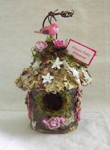Fairy Garden Mini FLOWER FAIRY HIDEAWAY Moss PINK ROSES Miniature Doll House